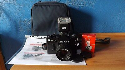 Zenit 12Xp Outfit With Fast Prime Lens, Flash, Manuals, Etc.