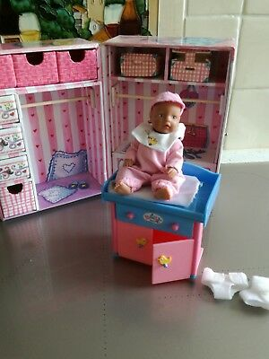 Baby Born MiniWorld travel wardrobe, baby doll and changing unit