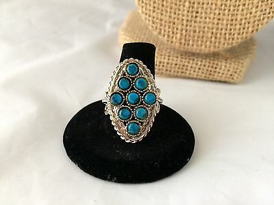 Vtg. Blue Faux Turquoise Cab & Silver Plated Chunky Ring
