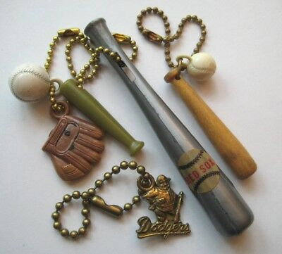 VINTAGE Plastic Wood Metal BASEBALL KEYCHAIN Lot Ball~Bat~Glove~Dodgers~Red Sox