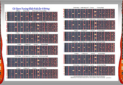 C6Th Tuning Slide Rule Poster For 8 String Steel Guitar - Lap Pedal