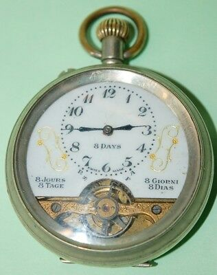 Hebdomas 8 Day Pocket Watch Swiss Made C.1910 For Repair No Reserve