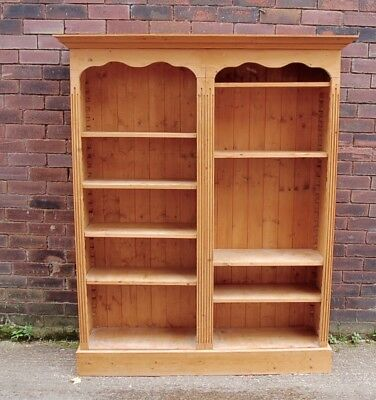 Large Vintage Rustic Solid Pine Tall Double Bookcase Antique Style