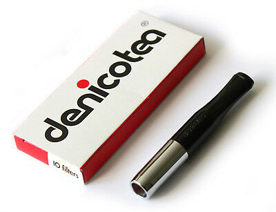 DENICOTEA cigarette holder Black and Silver color + 10 extra filters - NEW