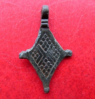 Ancient Viking Bronze Cross Pendant