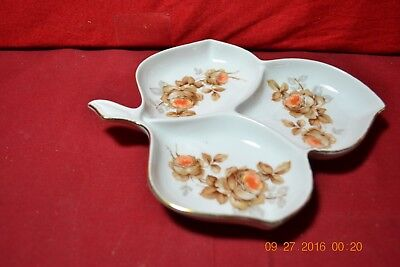 Mutterteich Bavaria German Hand Painted Porcelain Divided Leaf Candy Dish