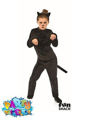 Child Black Cat Girl Costume Kitty Halloween Fancy Dress Outfit