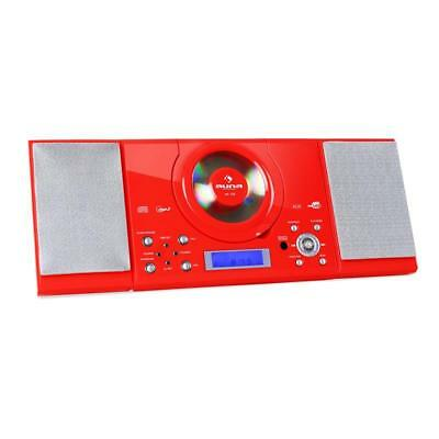 Hifi  Red New Stereo System Mp3 Cd Player Usb Fm Radio Alarm Clock