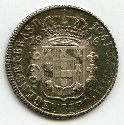 Brazil 1816-B Issue 960 Reis Silver Crown,nice Toning Choice Xf