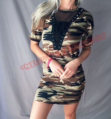 SEXY Olive Camo Military Print Corset Lace Up Netted Mesh Short Sleeve Dress