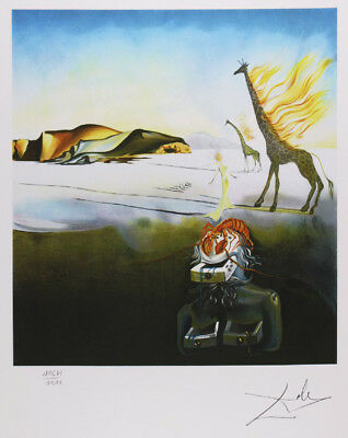 SALVADOR DALI  - Brennende Giraffe . Signed and numbered. 65 x 50 cm