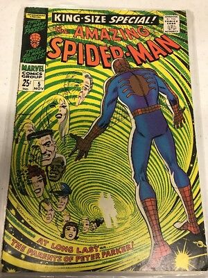 AMAZING SPIDER-MAN KING-SIZE SPECIAL #5 1st appearance parents Peter Parker 1968