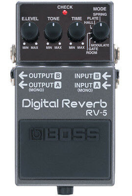 Boss Rv-5 Digital Reverb Stereo Guitar Effects Pedal & 2 Free Plectrums