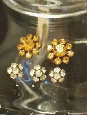 5 Victorian / Edwardian Jewelled Antique Buttons W@W