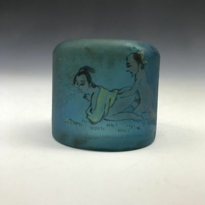 China's old Beijing collectable glass ring of pure hand-painted patterns