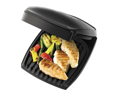 George Foreman Family Grill Compact 4 Portion Healthy Cooking Eating Black - NEW