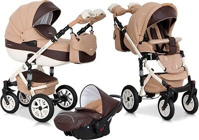 RIKO BRANO ECCO CARAMEL PRAM 3in1 CARRYCOT + PUSH CHAIR + CAR SEAT