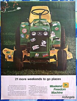 1969 John Deere Lawn Tractor Mower Covered Vacation Stickers More Weekends ad