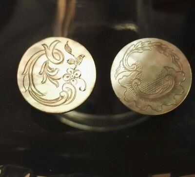 2 Georgian / Victorian Mother Of Pearl Buttons