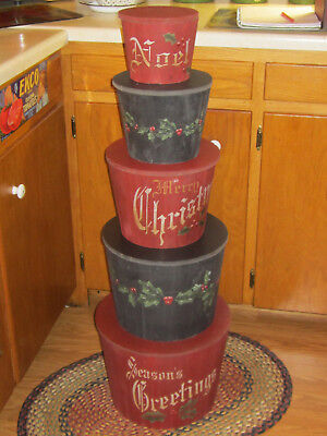 Primitive Country Farmhouse Style Set Of 5  Xmas Wood Nesting Stackable Box's