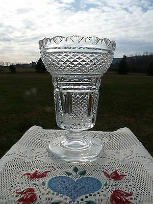 WATERFORD etched - MASTER CUTTER - 1980's CRYSTAL Footed HIBERNIA VASE