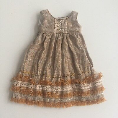 Beautiful Linen Mori Style Blythe Dress With Fringing By Hillirags- Excellent!