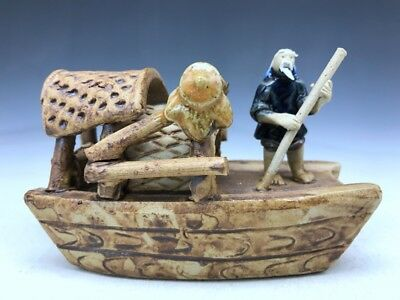 Ancient Chinese ceramics ship old man rowing image of the pure manual sculpture