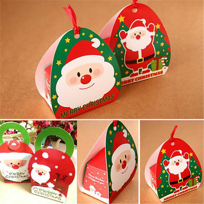 5PCS Christmas Santa Claus Party Paper Favour Gift Cupcake Candy Carrier Boxes