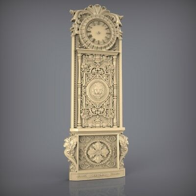 (854) STL Model Clock for CNC Router 3D Printer  Artcam Aspire Bas Relief
