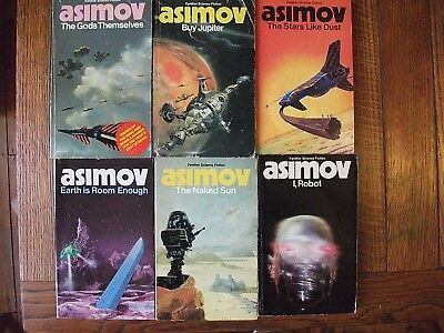 Asimov Job Lot 6 x vintage paperbacks I, Robot, Buy Jupiter, The Naked Sun
