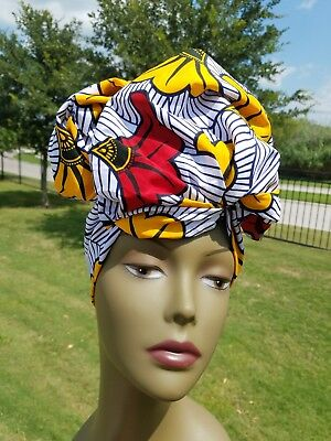 White, Yellow and red african print headwrap