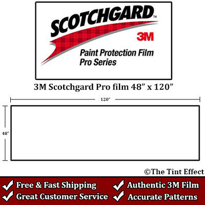 "3M Scotchgard Pro Paint Protection Film by the Foot (48"" x 120"") Uncut Clear Bra"