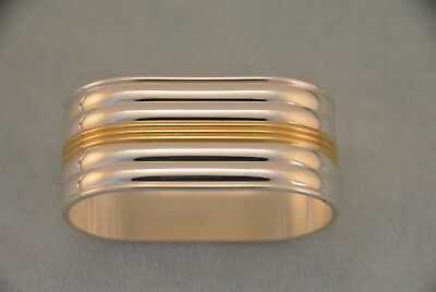 Christofle Aria Silverplate and Gold Napkin Ring No Monogram
