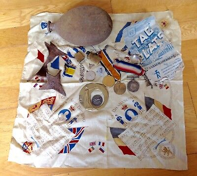 Original Ww1 Collection , Trio Medals Plus 1 , Caltrops , Water Bottle Etc