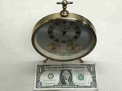 Vintage BULOVA Art Deco Alarm Clock Gold Tone With Hygrometer + Temperature