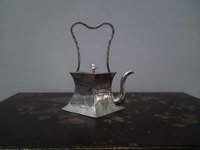 Unusual signed Chinese Japanese silver plate teapot wine sake pot
