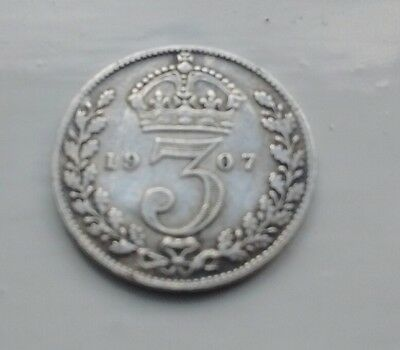 Silver 3d (three pence)  coin 1907 Great Britain