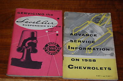 2 Original 1958 Chevrolet Advance Servicing & Level Air Systems   Booklets