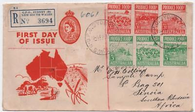 AUSTRALIA: 1953 Examples on Registered First Day Cover to S.Rhodesia (10925)