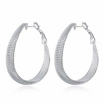 925 Sterling Silver Hoop Earrings Large Hooped Sleeper Las Uk