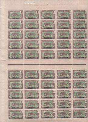 CAMEROON: 4c Examples - Partial Sheet of 50 Stamps in Blocks of 25 (11257)