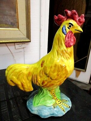 Large Stangl Art Pottery Rooster in Yellow Dark Red Crown