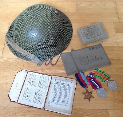Ww2 Original Royal Army Medical Corp Rmac D-Day Soldiers Helmet And Medals