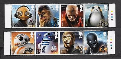 1) GB Stamps  2017 Star Wars With Traffic Light Tabs. Full Set NH Mint.