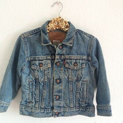 Vintage Levi's Denim Red Tab Kids Unisex Grunge Jacket Coat Rare 1 2 3 Y