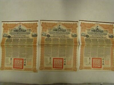 3x £20 chinois Réorganisation Gold Loan Of 1913 CHINESE GOVERVERNMENT OBLIGATION