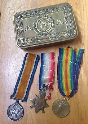 Ww1 Queen Mary Tin 1914 , X3 Trio Medal Corporal Royal Enginners Tunneler