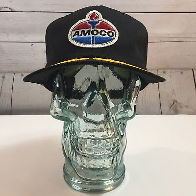Amoco Gas Black Vintage Patch Front Embroidered Bill Trucker Hat Cap
