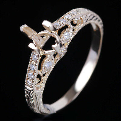 Marquise 4x7mm Solid 10K Yellow Gold Wedding Diamond Ring Vintage Royal Setting