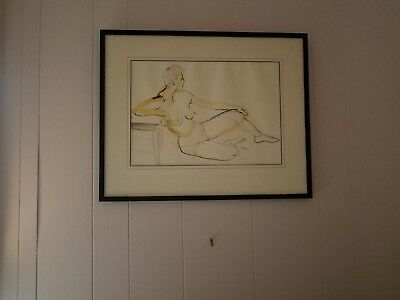 50s nude pen and ink drawing watercolor painting